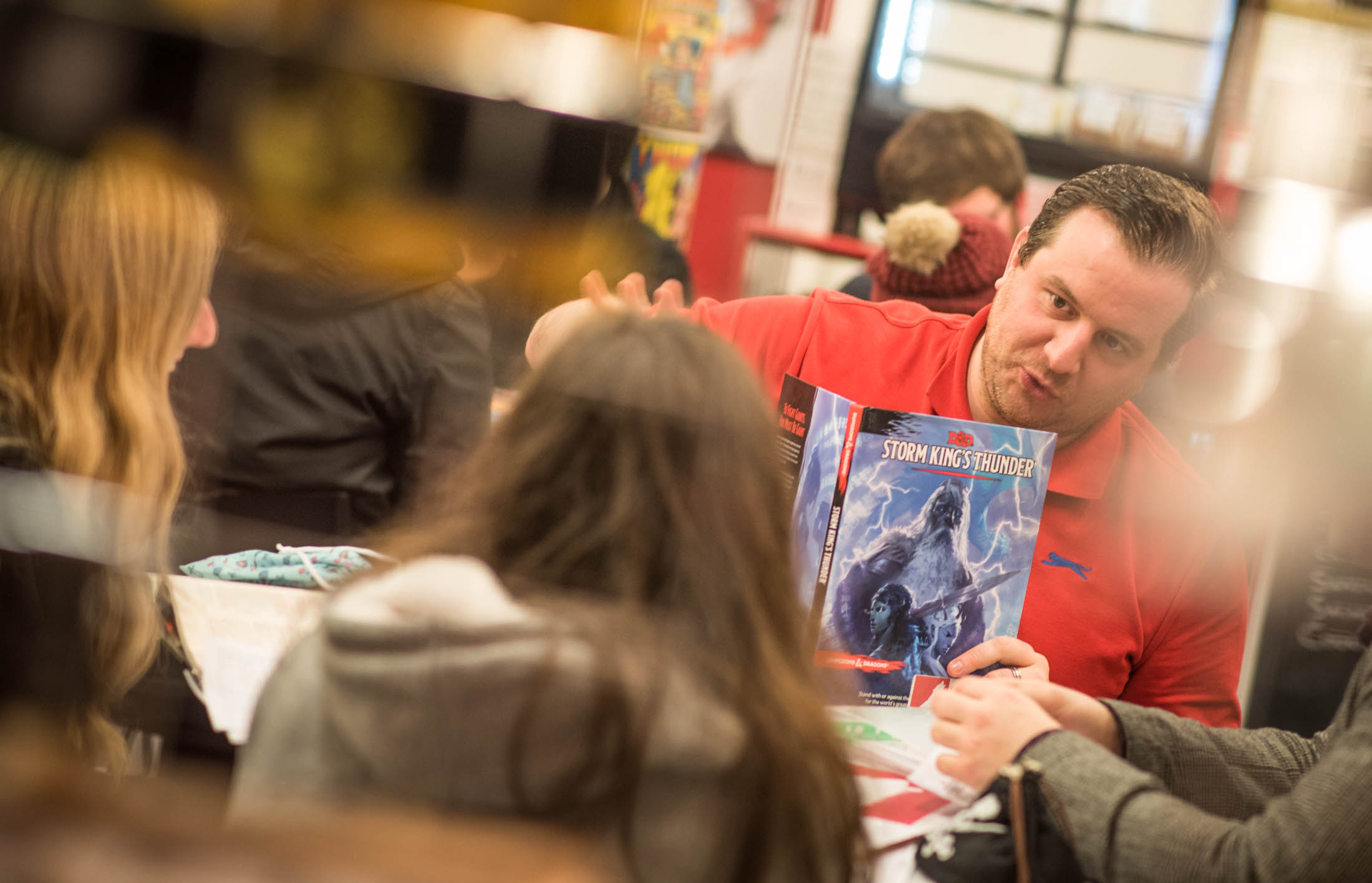 Stuart, owner of Big Dog Books, being a dungeon master